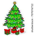 christmas tree with gifts... | Shutterstock .eps vector #737076712