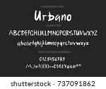 handwritten brush font. hand... | Shutterstock .eps vector #737091862