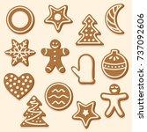 set of christmas cookies.... | Shutterstock .eps vector #737092606