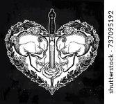 beautiful romantic skulls with... | Shutterstock .eps vector #737095192