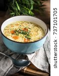 broth   chicken soup with... | Shutterstock . vector #737101705