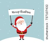santa claus hold banner sign... | Shutterstock .eps vector #737107432