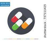 medicine pills flat icon with...