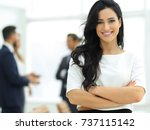 closeup. executive woman in the ... | Shutterstock . vector #737115142