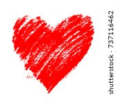 red grunge hand drawn heart... | Shutterstock .eps vector #737116462