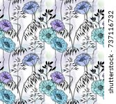 floral seamless pattern with... | Shutterstock . vector #737116732