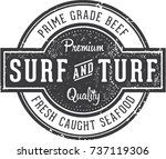 premium surf and turf vintage... | Shutterstock .eps vector #737119306