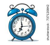 cartoon blue alarm clock. hand...   Shutterstock .eps vector #737120842