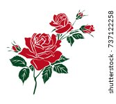 silhouettes of rose isolated on ... | Shutterstock .eps vector #737122258