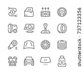 set of car related line icons...   Shutterstock . vector #737123356