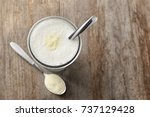 glass with protein shake and...   Shutterstock . vector #737129428