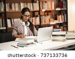 young female student study in... | Shutterstock . vector #737133736