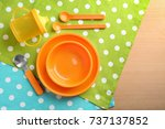 bright baby dishware on table | Shutterstock . vector #737137852