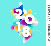 new year 2018. 3d colorful... | Shutterstock .eps vector #737142565