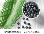 bowl with fresh acai berries... | Shutterstock . vector #737143558