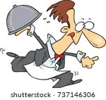 cartoon male waiter rushing... | Shutterstock .eps vector #737146306