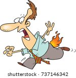 cartoon man running with his... | Shutterstock .eps vector #737146342