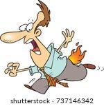 cartoon man running with his... | Shutterstock .eps vector #737146342