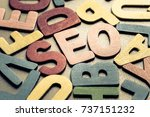 closeup seo in scattered wood... | Shutterstock . vector #737151232