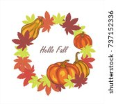 autumn leaves and pumpkins ...   Shutterstock .eps vector #737152336
