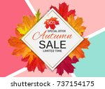 shiny autumn leaves sale banner.... | Shutterstock . vector #737154175