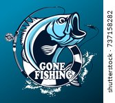 fishing logo. bass fish with... | Shutterstock .eps vector #737158282
