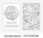 card templates with doodle... | Shutterstock .eps vector #737159296