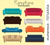 armchair furniture icons... | Shutterstock .eps vector #737163316