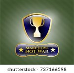golden badge with trophy icon... | Shutterstock .eps vector #737166598