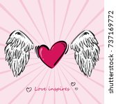illustration with heart and... | Shutterstock . vector #737169772