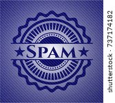 spam badge with jean texture | Shutterstock .eps vector #737174182