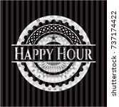 happy hour silver badge or... | Shutterstock .eps vector #737174422