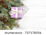 christmas background with gifts ... | Shutterstock . vector #737178556