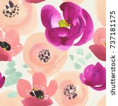 seamless floral patter on paper ... | Shutterstock . vector #737181175