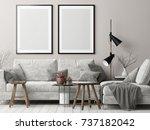 mock up posters in nordic... | Shutterstock . vector #737182042