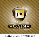 shiny badge with safe  safety... | Shutterstock .eps vector #737182576