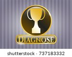 gold badge with trophy icon... | Shutterstock .eps vector #737183332