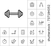 thin line dumbbell icon ...   Shutterstock .eps vector #737184352