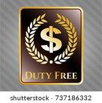 gold badge with laurel wreath... | Shutterstock .eps vector #737186332