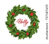 christmas wreath with berry... | Shutterstock .eps vector #737187655