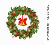 christmas wreath with red bow ... | Shutterstock .eps vector #737187682