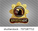 gold badge with shower icon... | Shutterstock .eps vector #737187712