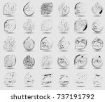 stamps collection. grunge... | Shutterstock .eps vector #737191792