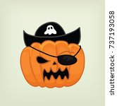 pumpkin cartoon pirates vector | Shutterstock .eps vector #737193058