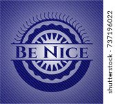 be nice badge with jean texture | Shutterstock .eps vector #737196022