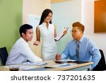 image of a businessman joining... | Shutterstock . vector #737201635