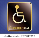 golden badge with disabled ... | Shutterstock .eps vector #737203912