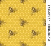 bee and honeycomb seamless... | Shutterstock .eps vector #737204515