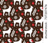 christmas seamless pattern with ... | Shutterstock .eps vector #737207476