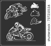 set of racing motorcycle... | Shutterstock .eps vector #737210116